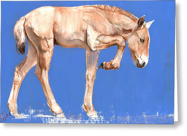 Innocence Greeting Cards - Przewalski Foal, 2012, Mixed Media On Paper Greeting Card by Mark Adlington