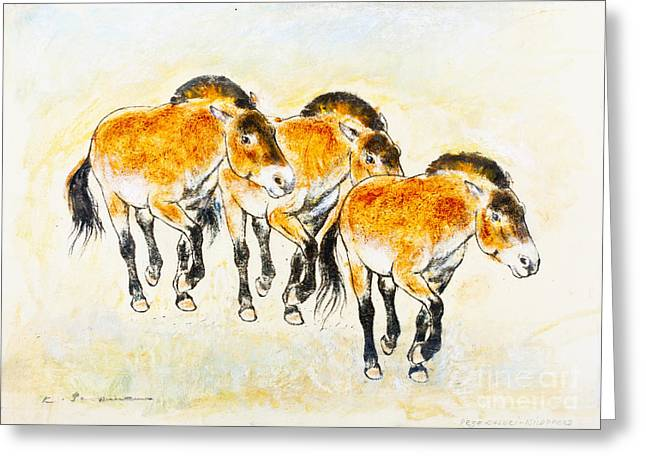 Equine Art Pastels Pastels Greeting Cards - Przewalskis horses Greeting Card by Kurt Tessmann