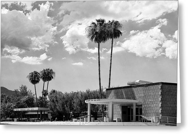 Ps Greeting Cards - PS CITY HALL FRONT BW Palm Springs Greeting Card by William Dey