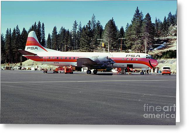 Fixed Wing Multi Engine Greeting Cards - PSA Lockheed L188C Electra   N171P CINDY Lake Tahoe Airport Greeting Card by Wernher Krutein