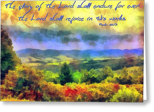Poster For His Greeting Cards - Psalm 104 31 Greeting Card by Michelle Greene Wheeler