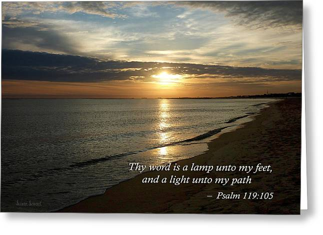 Your Word Is A Lamp To My Feet And A Light For My Path Greeting Cards - Psalm 119-105 Your Word Is a Lamp Greeting Card by Susan Savad