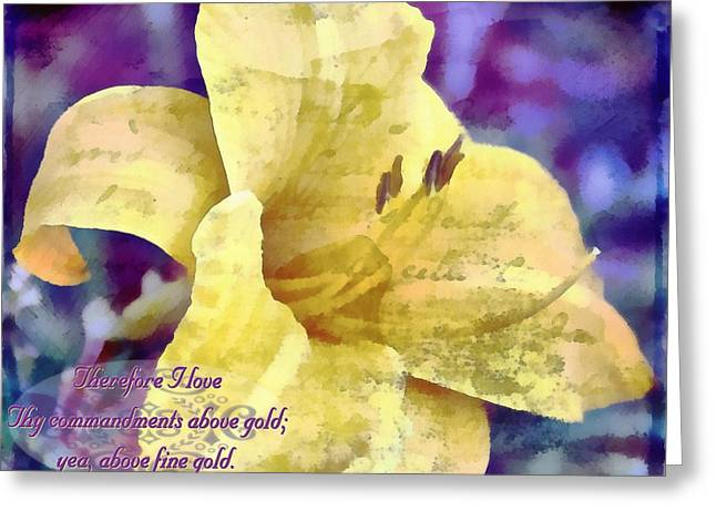 Floral Digital Art Greeting Cards - Psalm 119 127 Greeting Card by Michelle Greene Wheeler