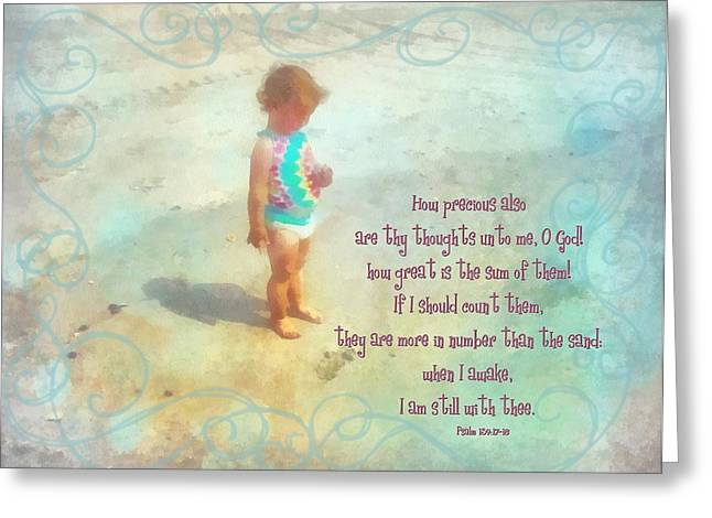 Toddlers Poster Greeting Cards - Psalm 139 17 18 Greeting Card by Michelle Greene Wheeler