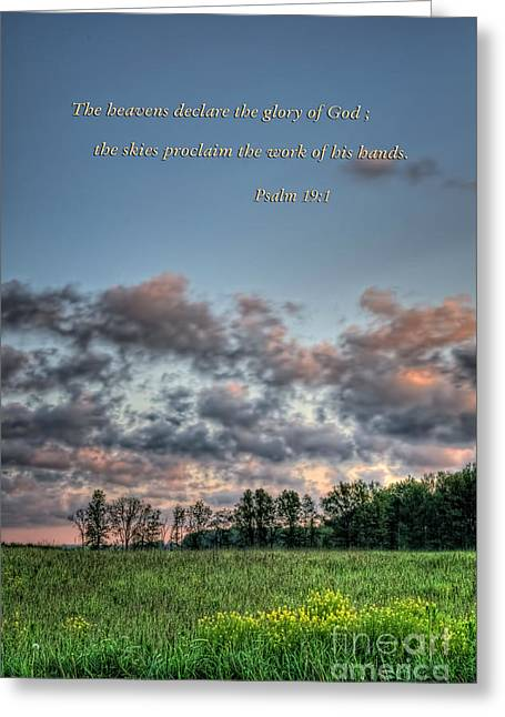 Scripture Cards Greeting Cards - Psalm 19 verse 1 Greeting Card by Pamela Baker