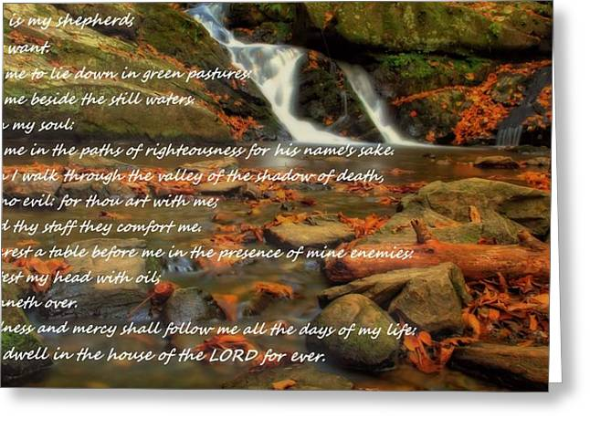 Beach Photography Mixed Media Greeting Cards - Psalm 23 Autumn Waterfall Greeting Card by Dan Sproul