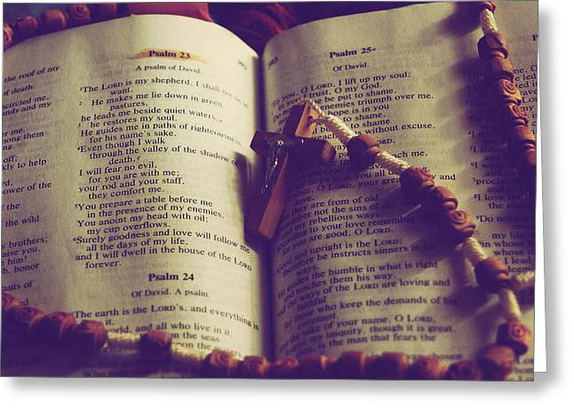 Psalm Of David Greeting Cards - Psalm 23 Greeting Card by Christy Paxson