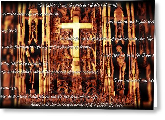 Beach Photography Mixed Media Greeting Cards - Psalm 23 Church Interior Greeting Card by Dan Sproul