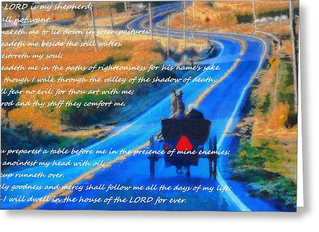 Beach Photography Mixed Media Greeting Cards - Psalm 23 Country Roads Greeting Card by Dan Sproul