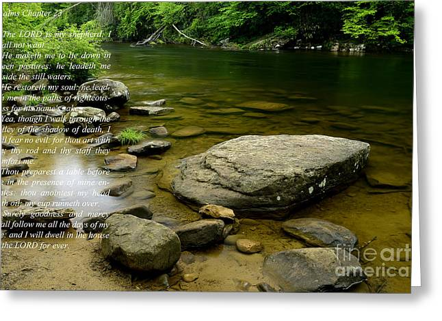 Monongahela National Forest Greeting Cards - Psalm 23 Cranberry River Greeting Card by Thomas R Fletcher