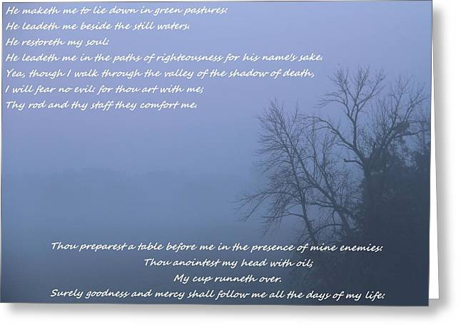 Foggy Beach Greeting Cards - Psalm 23 Foggy Morning Greeting Card by Dan Sproul