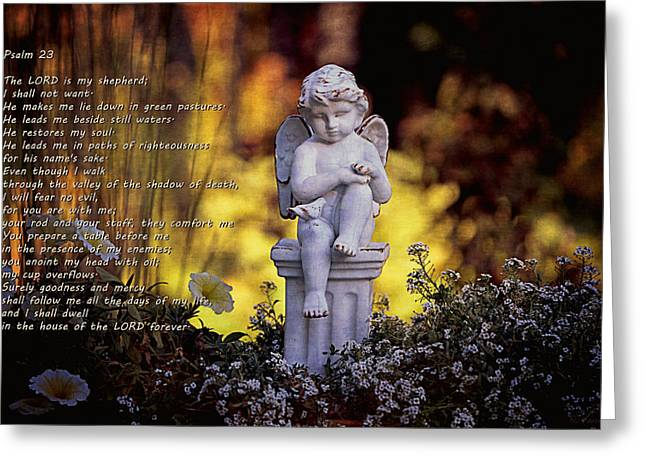 Innocence Child Digital Art Greeting Cards - Psalm 23 Greeting Card by Maria Angelica Maira
