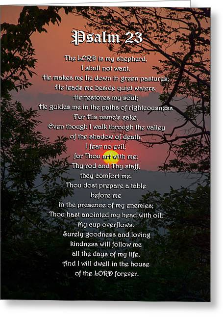 Psalm Of David Greeting Cards - Psalm 23 Prayer Over Sunset Landscape Greeting Card by Christina Rollo