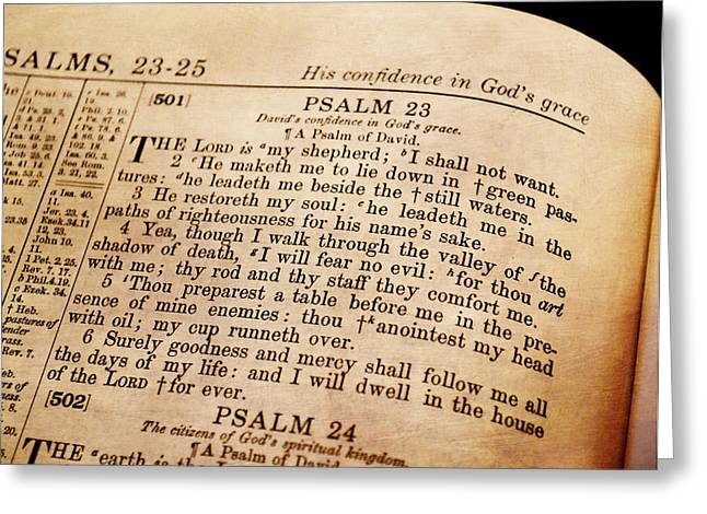 King James Version Greeting Cards - Psalm 23 - The Lord Is My Shepherd Greeting Card by Deena Stoddard