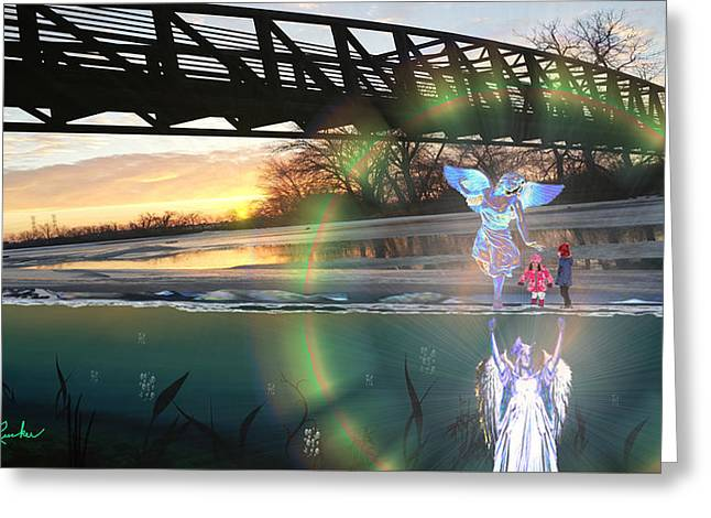 Guardian Angel Children Bridge Greeting Cards - Psalm 91 Greeting Card by Michael Rucker
