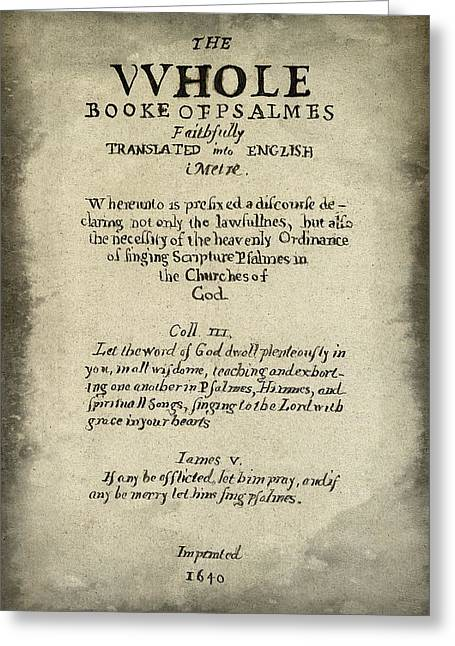Biblio Greeting Cards - Psalms Hand Written Book Plate 1640 Greeting Card by Daniel Hagerman