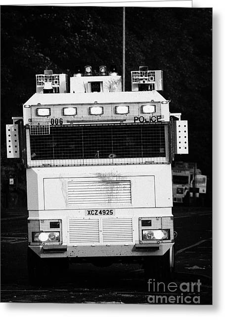 Protest Greeting Cards - PSNI water cannon on crumlin road at ardoyne shops belfast 12th July Greeting Card by Joe Fox