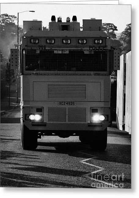 Terrorism Greeting Cards - PSNI water canon on crumlin road at ardoyne shops belfast 12th July Greeting Card by Joe Fox