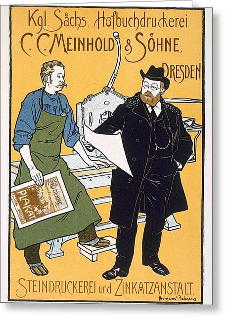 Lithography Greeting Cards - Pster Advertising C. C. Meinhold & Sons Greeting Card by Hermann Behrens