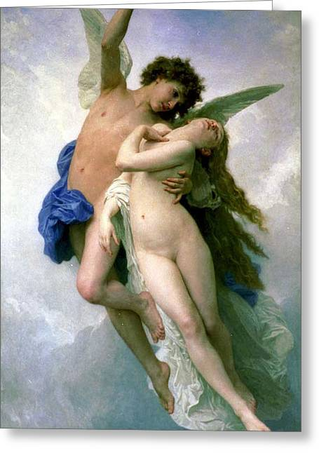Bouguereau; William-adolphe (1825-1905) Greeting Cards - Psyche and Love Greeting Card by William-Adolphe Bouguereau
