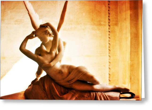 Nudes Sculptures Greeting Cards - Psyche Revived by Cupids Kiss Greeting Card by Phill Petrovic