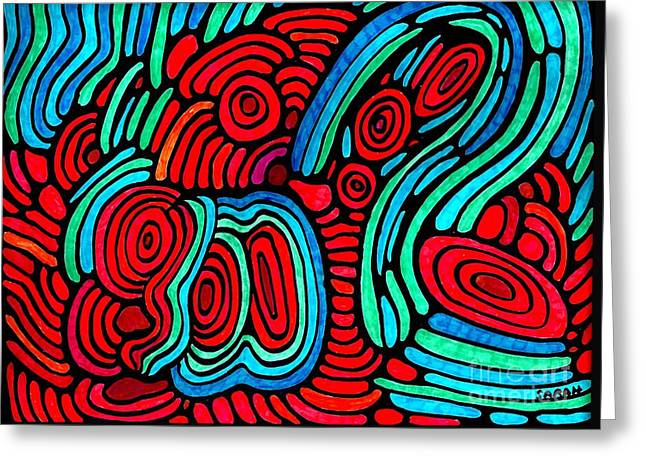 Sarah Loft Drawings Greeting Cards - Psychedelia 2 Greeting Card by Sarah Loft