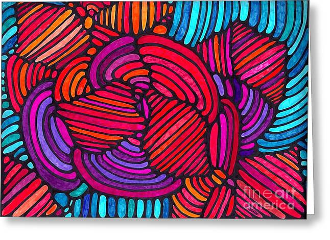 Psychedelia Greeting Cards - Psychedelia 4 Greeting Card by Sarah Loft