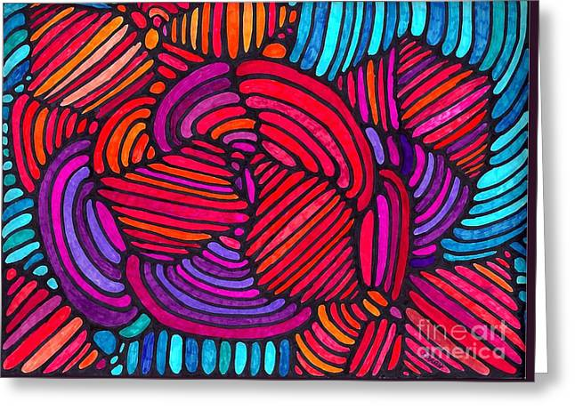 Sarah Loft Drawings Greeting Cards - Psychedelia 4 Greeting Card by Sarah Loft
