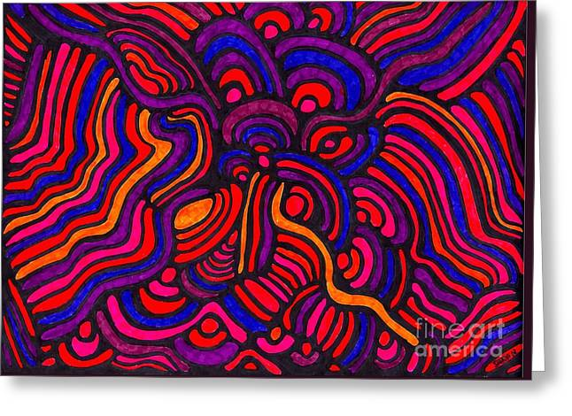 Sarah Loft Drawings Greeting Cards - Psychedelia Greeting Card by Sarah Loft