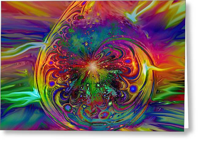 Beam Of Light Greeting Cards - Psychedelic Beams Of Light Greeting Card by Linda Sannuti