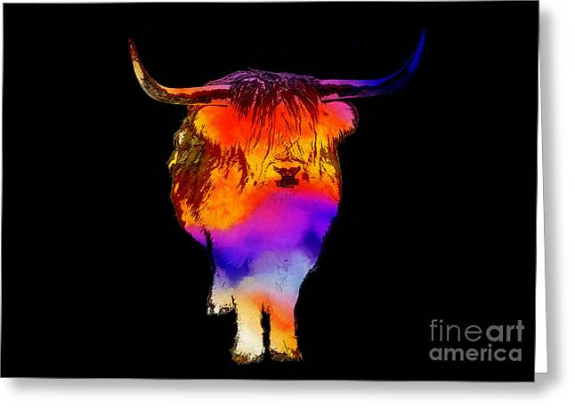 Trippy Greeting Cards - Psychedelic Bovine Greeting Card by Pixel Chimp