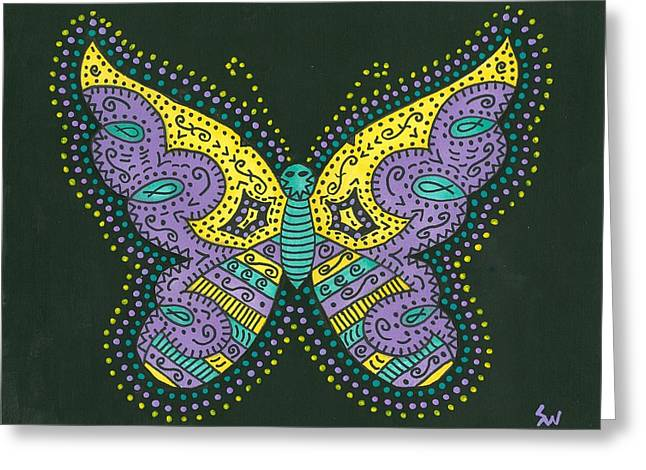 Susie Weber Greeting Cards - Psychedelic Butterfly Greeting Card by Susie Weber