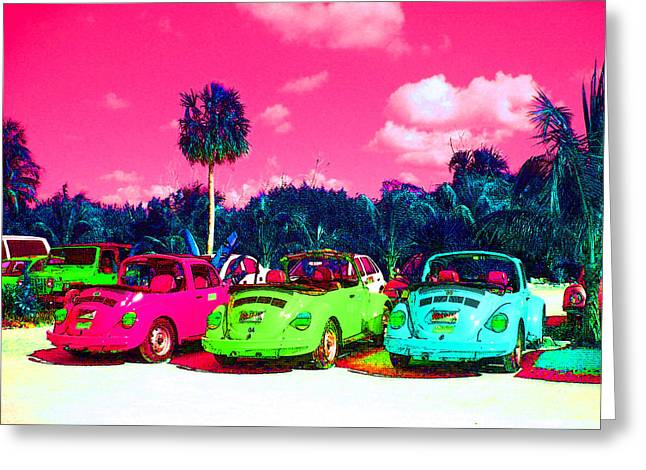 Beautiful Greeting Cards - Psychedelic Cars Greeting Card by Mike Podhorzer
