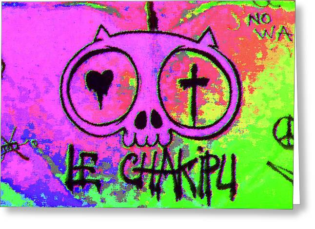 Kitteh Greeting Cards - Psychedelic Cat Greeting Card by Manik Designs