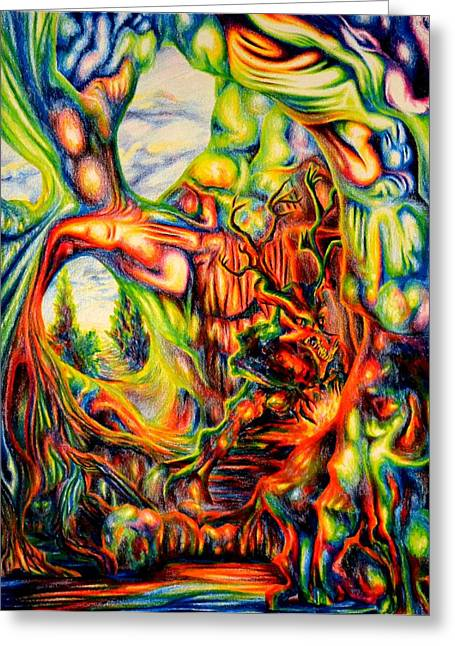 Spectrum Drawings Greeting Cards - Psychedelic Cavern Greeting Card by Martin Roskom