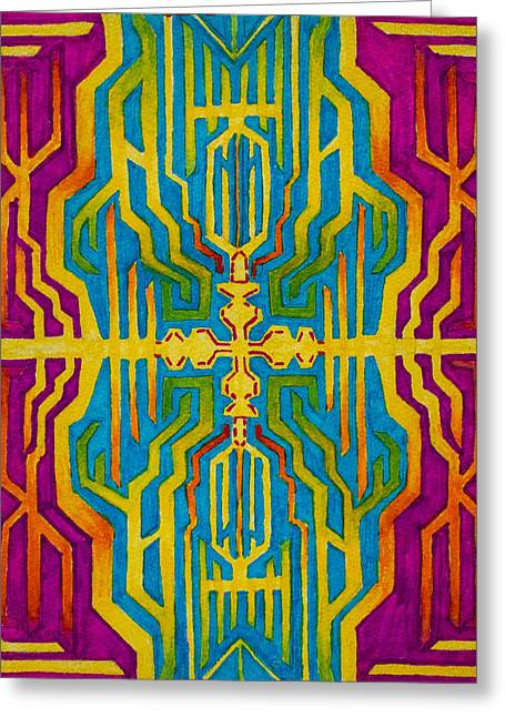 Mechanism Paintings Greeting Cards - Psychedelic Circuitry Greeting Card by Maxwell Hanson