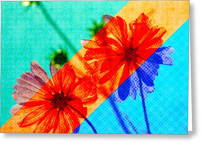 Psychedelic Collage Of Otherworldly Cosmos Flowers Greeting Card by Beverly Claire Kaiya