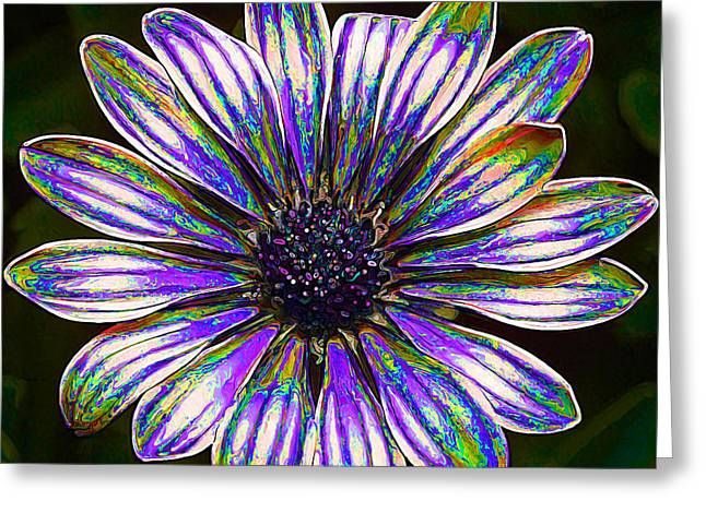 Floral Digital Art Digital Art Greeting Cards - Psychedelic Daisy Greeting Card by Bill Caldwell -        ABeautifulSky Photography
