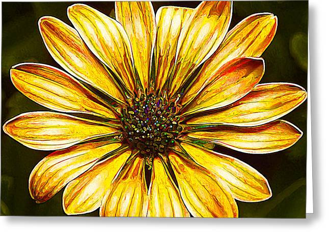Floral Digital Art Digital Art Greeting Cards - Psychedelic Daisy in Yellow Greeting Card by Bill Caldwell -        ABeautifulSky Photography