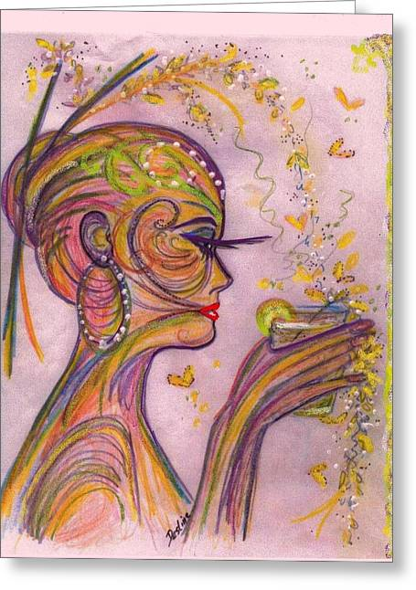 Watercolor Background Pastels Greeting Cards - Psychedelic Greeting Card by Desline Vitto