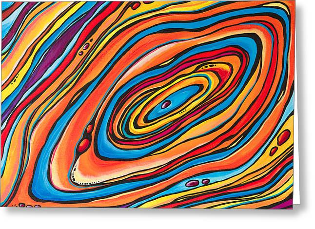 Oil Slick Greeting Cards - Psychedelic Greeting Card by Emily Brantley