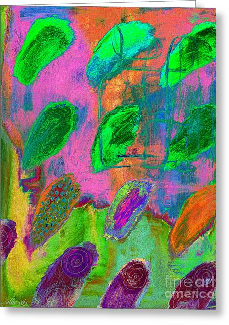 Seller Mixed Media Greeting Cards - Psychedelic Finger Prints Greeting Card by Noa Yerushalmi