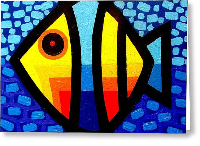 Fishing Art Print Greeting Cards - Psychedelic Fish Greeting Card by John  Nolan