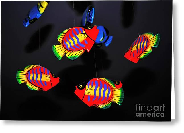 Recently Sold -  - Still Life With Fish Greeting Cards - Psychedelic Flying Fish Greeting Card by Kaye Menner