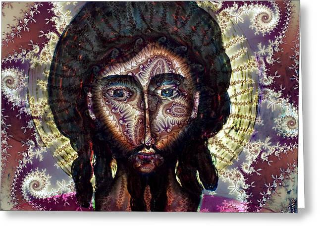 Hallucination Greeting Cards - Psychedelic Fractal Jesus Christ Greeting Card by Andrew Osta