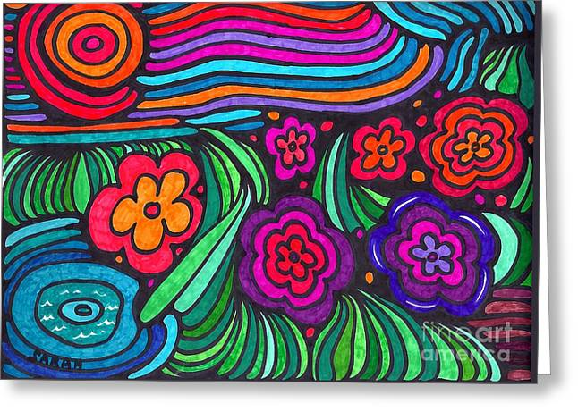 Sarah Loft Drawings Greeting Cards - Psychedelic Garden Greeting Card by Sarah Loft