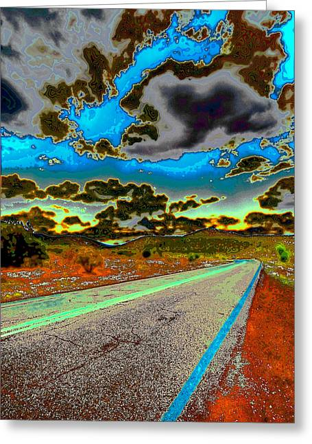 Nature Scene Digital Art Greeting Cards - Psychedelic Highway Greeting Card by David Patterson