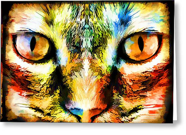Artography Greeting Cards - Psychedelic Kitty Cat Greeting Card by Melissa Bittinger