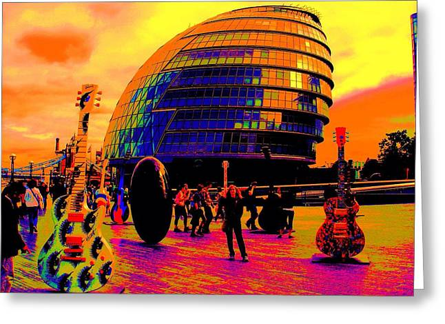 Guitar Sculpture Greeting Cards - Psychedelic London No 1. Greeting Card by Seymour Kanowitch
