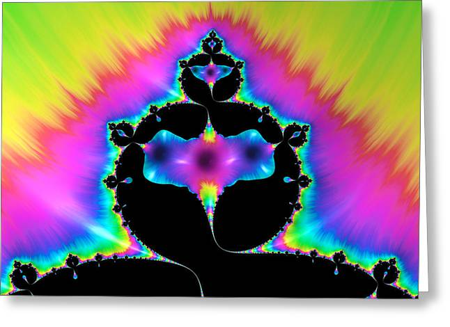Green And Yellow Abstract Greeting Cards - Psychedelic mandelbrot fractal art Greeting Card by Matthias Hauser